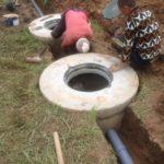 канализация автономная из бетонных колец с переливом